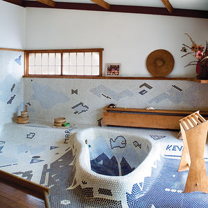 Modern Japanese-style bathroom by George Nakashima