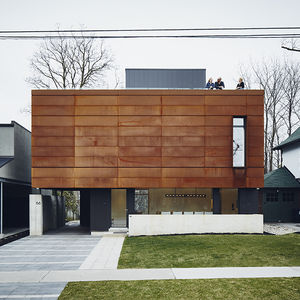 iron giant toronto family home smart tech front facade cor ten steel
