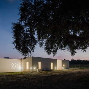 Vineyard house illuminated at night