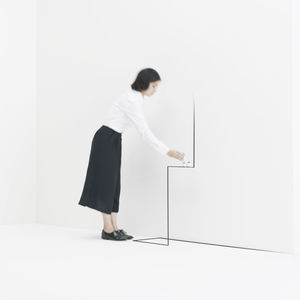 """Custom metal """"border table"""" furniture by Oki Sato of Nendo at the Gyre Gallery"""
