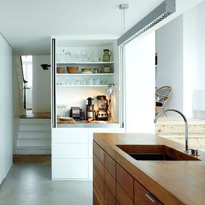 perks of the business london family renovation kitchen white mdf cabinets lebanese cedar island stainless steel countertops franke sink vola faucet siemens oven