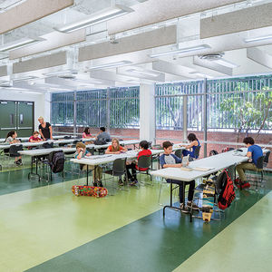 secondary education midcentury school reuse los angeles contemporary interior tables room