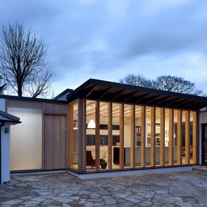 A 19th-century home with a modern addition in England.