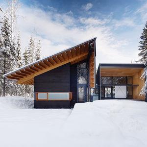 stay golden facade douglas fir cedar siding pitched roof