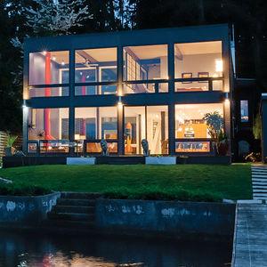 modern renovation aqua lair exterior lake view