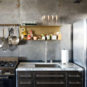 toy story industrial kitchen los angeles renovation toy lofts brass shelves steel wall hayneedle pot rack verona range