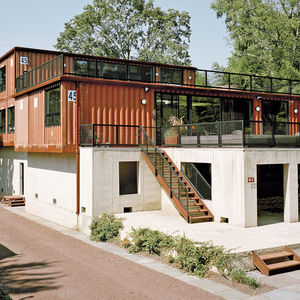 up to eleven pennsylvania shipping container steel prefab facade concrete foundation