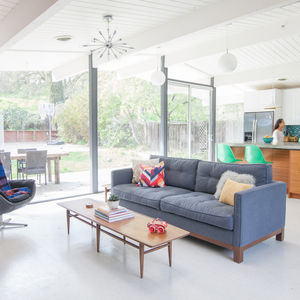 Living room and kitchen of a 1959 Eichler home.