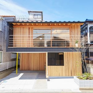 Facade of modern Japanese home outside Tokyo.